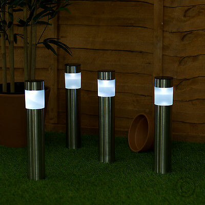 4 x Solar Powered Colour Changing LED Brushed Chrome Garden Bollard Post Lights