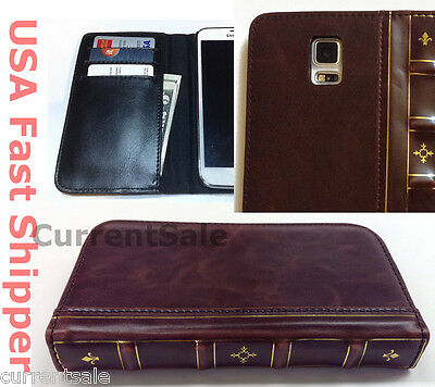 Vintage Antique BOOK Leather Cover Wallet Case Samsung Galaxy S7 S6 S5 Note 5 4