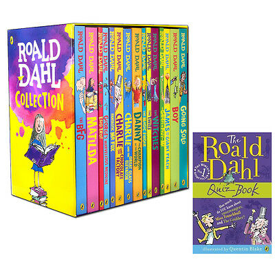 New Roald Dahl Collection 15 Books Children Box Set, With Roald Dahl Quiz Book