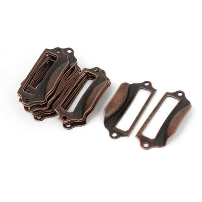 Office Library File Drawer Tag Frame Label Holder Pull Handle Copper Tone 20pcs