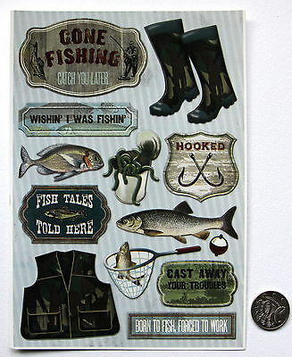SCRAPBOOKING NO 108 - 12 Piece MEDIUM TO LARGE FISHING STICKERS