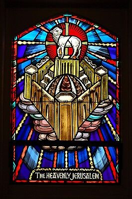 "+ Stained Glass Window #12 of 16, ""New Jerusalem"" + Made by ""J.R. Lamb Studios"""