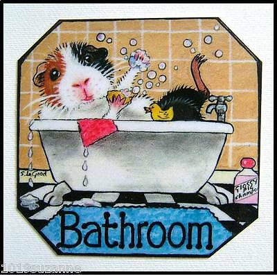 Orig Design Guinea Pig Bathroom Sign  From Original Painting By Suzanne Le Good