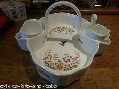 "AYNSLEY ""COTTAGE GARDEN"" STRAWBERRY BASKET WITH CREAMER AND SUGAR BOWL"