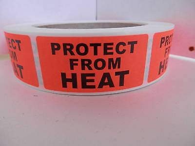 PROTECT FROM HEAT 1x2 red fluorescent Warning Stickers Labels 500/rl