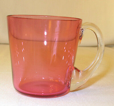 VINTAGE CRANBERRY SMALL MUG w CLEAR HANDLE