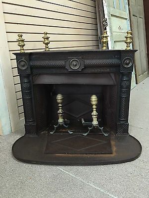 GORGOUS ORNATE CAST IRON FIREPLACE w/ Brass Finials & Brass Andirons ca 19th C