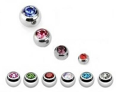 TITANIUM  Spare Gem Ball - Screw Fit-  for Body Jewellery - 3mm 4mm 5mm 6mm