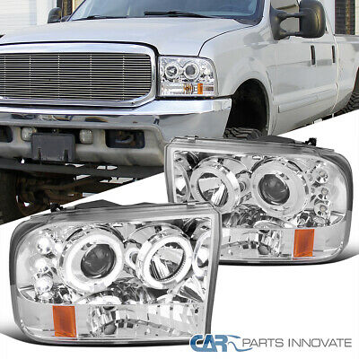 99-04 Ford F250 F350 F450 F550 Super Duty LED Halo Projector Headlights Clear