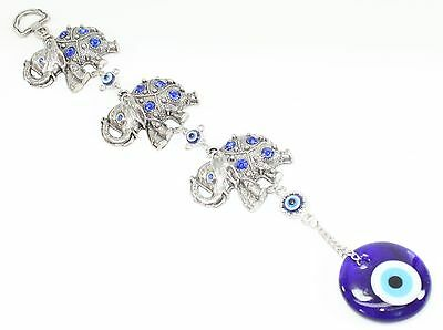 Blue Evil Eye 3 Lucky Elephants Amulet Protection Wall Hanging Home Decor Gift