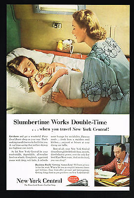 1953 New York Central Train Railroad Sleeping Girl Doll Vintage Print Ad