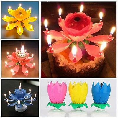 Amazing Romantic Musical Lotus Flower Rotating Happy Party Cake Birthday Candles