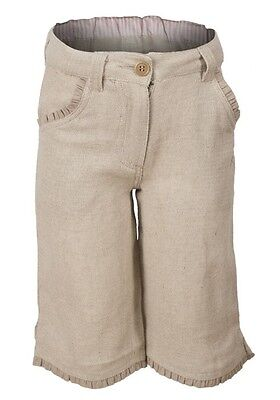 Earth Collection Girls Linen Blend Crop Trousers Sand