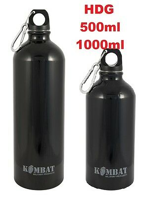 ALUMINIUM WATER BOTTLE / FLASK KOMBAT UK 500ml/1000ml CARABINER HIKE CAMP BLACK