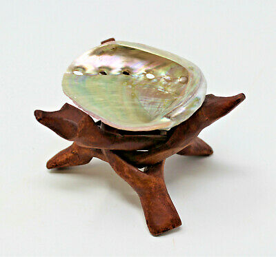 """Small 3"""" Abalone Shell & 4"""" Wood Tripod Stand Smudging Cleansing Burning Sage"""