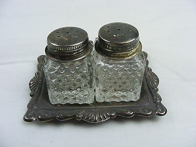Vintage Cut Glass Individual Salt & Pepper Square Shaker Set w Silverplate Tray