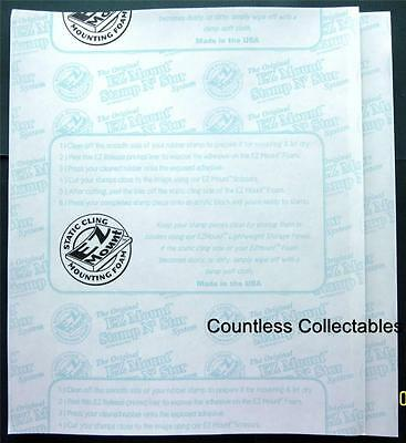 2 Sheets 8.5x11 EZMount Static Cling Foam For Unmounted Rubber Stamps EZ Mount