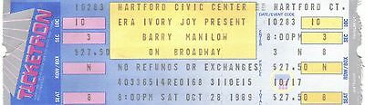 Barry Manilow 1989 Unused Ticket Hartford Ct