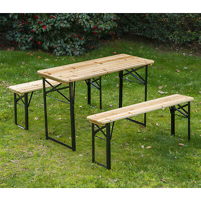 "Outsunny 6FT Folding Wooden Picnic Beer Table Benches German Style 20"" wide Wood"