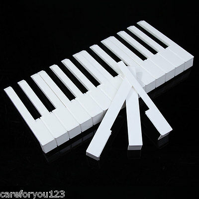 52Pcs Pro White ABS Plastic Piano Keytops Kit with Fronts Replacing Key Tops New