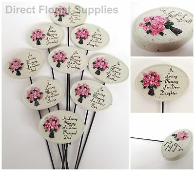 Oval Rose Memorial Stick, Stake Graveside Tribute,remembrance, Asst Relatives
