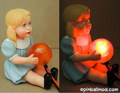 """TWILIGHT ZONE PINBALL MOD - TALKY TINA DOLL (lits up when """"extra ball"""" is...  )"""