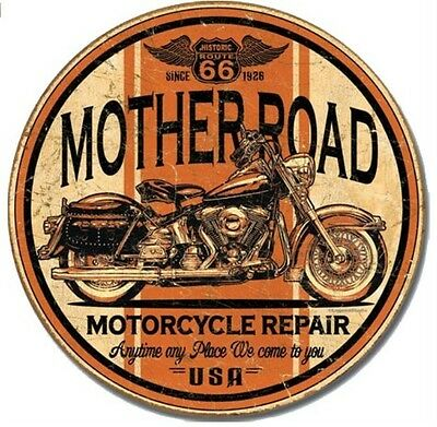 """Mother Road Motorcycle - Anytime Any Place - 11.75"""" Round Metal / Tin Sign #1697"""