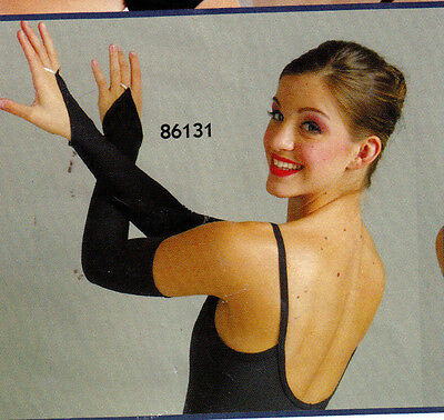 NEW Black Lycra Fingerless Mitts Gauntlets Finger loop Ladies Sz Drill Prom