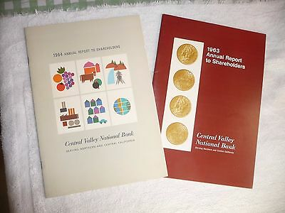 lot of 2 CENTRAL VALLEY NATIONAL BANK OAKLAND w/ cartoon map of CALIFORNIA 1963