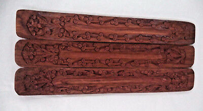 Lot of 3 Hand Made Carved Wood Incense Burner Holder (Wooden 3 Pack, Gift)