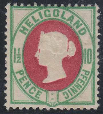 BC HELIGOLAND 1875 QV Sc 17a YELLOW GREEN & DARK ROSE HINGED MINT F,VF SCV$110