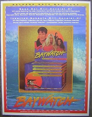 """1995 Baywatch Collector Cards Original Promotional 8x11"""" Mini Color Poster Ad"""