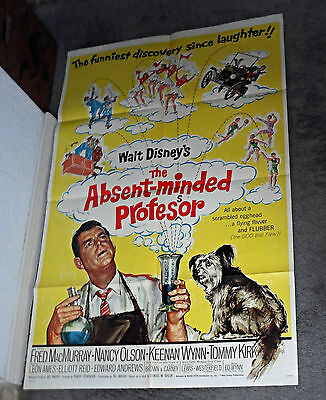 THE ABSENT-MINDED PROFESSOR original DISNEY one sheet movie poster SKYE TERRIER