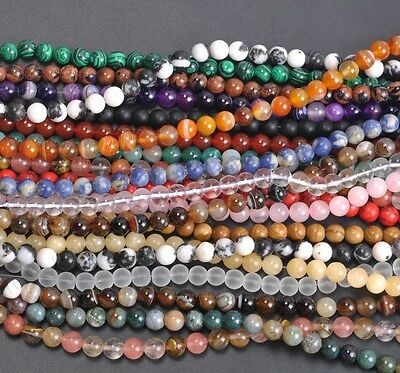 """15"""" Natural Gemstone Round Spacer Loose Beads 4MM Pick Assorted"""