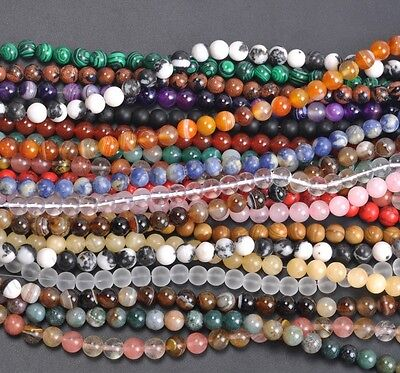 "16"" Natural Gemstone Round Spacer Loose Beads 4MM Pick Assorted"