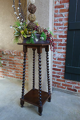TALL Antique French Dark Oak BARLEY TWIST Plant Display Stand Jacobean