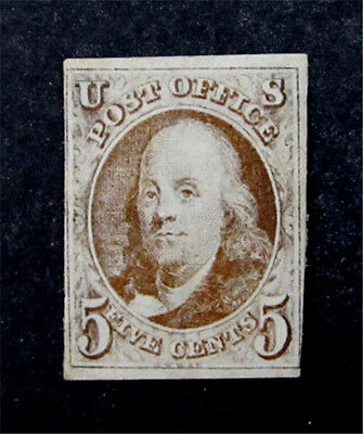nystamps US Stamp # 1 1847 5C Mint With Gum H $6750