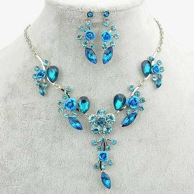 Trendy 18K Gold GP Enamel Floral Tered Bib Earing Necklace Jewelry Set A1626K