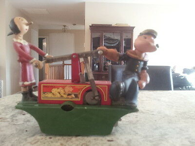 RARE - 1930'S LOUIS MARX - WIND UP - POPEYE HANDCAR - ALL ORIGINAL