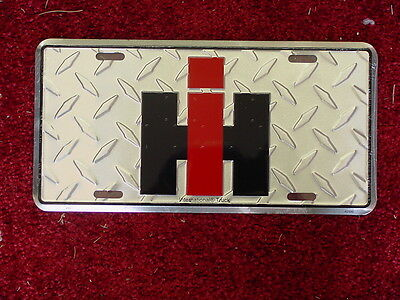 IH LOGO LICENSE PLATE -  Diamond plate Metal License Plate, NEW