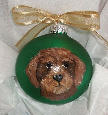 Wirehaired Dachshund Dachsie Doxie Dog Hand Painted Glass Ornament