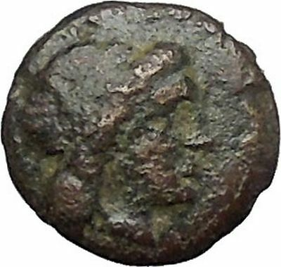 MILETOS in IONIA 350BC Ancient Greek Coin Apollo Asclepius father LION  i49581