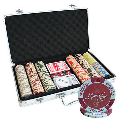 300pcs MONTE CARLO MILLIONS POKER CHIPS SET