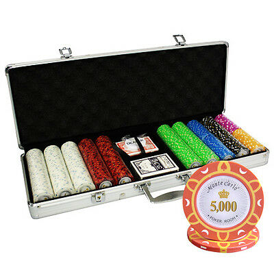 500pcs 14G MONTE CARLO POKER ROOM POKER CHIPS SET ALUM CASE