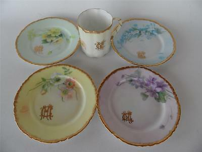 4 ANTIQUE HAND PAINTED ROSENTHAL BAVARIA VERSAILLES CAKE PLATES & COFFEE CUP