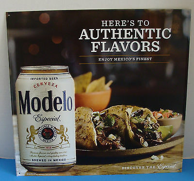 "Cerveza Modelo Especial 18"" X 17"" Here's To Authentic Flavors Metal Sign New"
