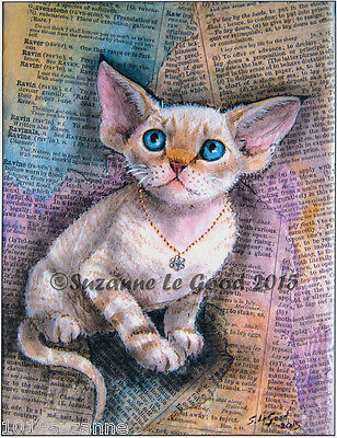 Limited Edition Devon Rex Cat Print From Original Painting By Suzanne Le Good