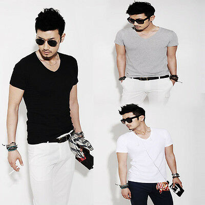 Fashion Men Slim Fit Cotton V-Neck Short Sleeve Casual T-Shirt Tops hot