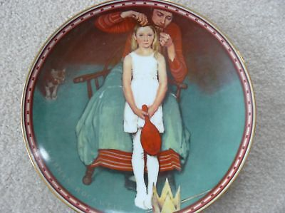 """Norman Rockwell painted plate, """"Second Thoughts"""""""