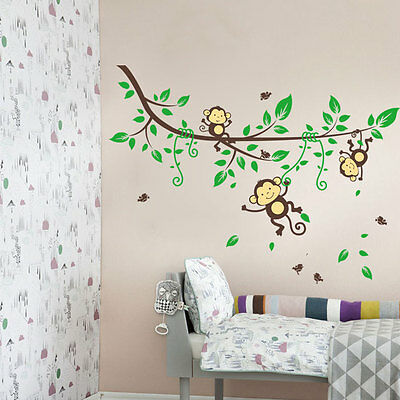 DIY Removable Monkey and Tree Wall Stickers Vinyl A rt Home Decals for Baby Kids